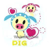 Love Pig Hearts - DIY Iron On Glitter T-Shirt Heat Transfer - NEW