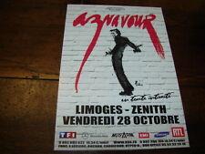 CHARLES AZNAVOUR - FLYER CONCERT LIMOGES EN TOUTE INTIMITE !!!!!!!!!!!!