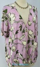 Talbots woman Cardigan fine knit Sweater light Top button floral bead S/S 1X NEW