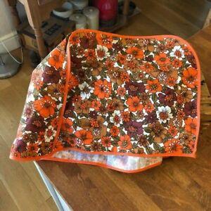 Vintage Orange Flower Power 1960's 1970's Fabric Kitchen / Food Mixer Cover –