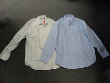 ALEX CANNON/LUXURY EQUILIBRIO Lot Of 2 Blue Ivory Brown Cotton Shirts L EE6301