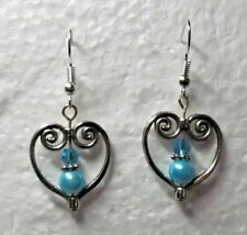"""Blue/Silver Short Handmade .75"""" Dangle Wire Earrings"""