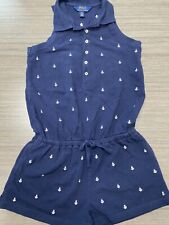 GIRLS POLO RALPH LAUREN ROMPER SIZE M (10-12) NAVY EUC
