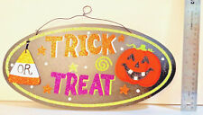 "Glitter Halloween Sign ""TRICK OR TREAT"" W/ wire hanger - NEW"