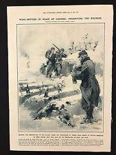 1915 Original Newspaper Illustration, French Dead, Wine Bottles for Crosses, WWI