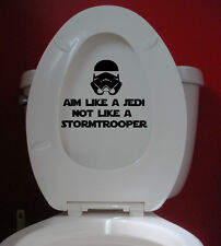 "Aim Like a Jedi not a Stormtrooper vinyl decal sticker 7"" x 5.5"" Toilet Sign"