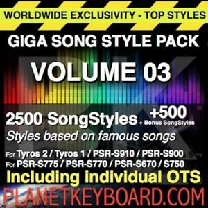 Styles pour YAMAHA PSR SX900 GIGA PACK VOL 03 3000 SONGSTYLES - SONG STYLES