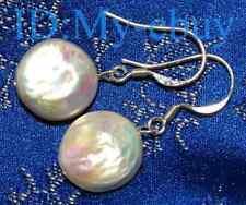 12mm White Coin Pearl Dangling Earrings  Silver Hook
