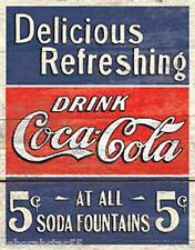 Large Coca Cola Coke Soda Fountain Vintage Retro Advertising Tin Metal Sign 1619