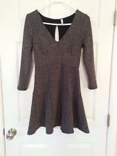 Free People HEARTSTOPPER Petite Fit & Flare Mini Dress Size SP Gray Keyhole $118