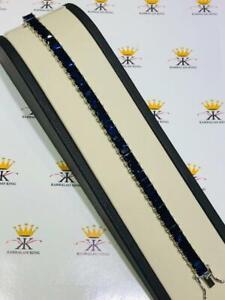 "Platinum Sterling Silver Blue Sapphire Emerald Cut Tennis Bracelet 7mm Wide 7"" L"