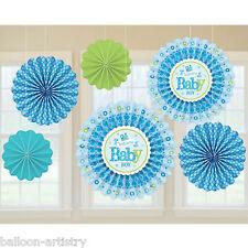 6 Little Blue WELCOME Baby Boy Shower party da appendere Carta Ventilatore Decorazioni