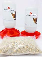 Chick Feeder Waterer Kit (1L Waterer 1L Feeder Kit) with 100% Non-GMO, Canadian