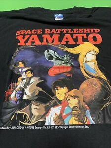 Space Battleship Yamato Vintage Black TShirt Xl 1995 Voyager Entertainment Anime