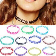 12 Pcs/set Vintage Stretch Tattoo Choker Necklaces Women Girls Charm Punk RetrJR