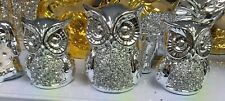 Crushed Crystal Diamond Owls Ornament Silver Shelf Sitter Gift New