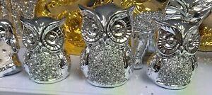 Crushed Crystal Diamond Owls Ornament Silver Shelf Sitter