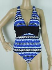 NWT Athena Women's Cross One-Piece Blue Black Swimsuit Size 8, 10, 12 NEW $98