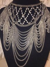 strand Wide long Statement Women Necklace Silver Multi Strand Chains w/ Crystal