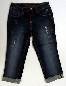 Justice Girls 10R 10 Regular Capri Denim Jeans Distressed Simply Low Dark Crop