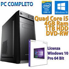 COMPUTER ASSEMBLATO NUOVO PC FISSO DESKTOP CORE i5-650 RAM 4GB HDD 1TB WIN 10