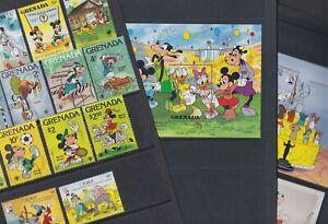 Grenada 1979-91 Used FU Full Sets Minisheets Disney Mickey Donald Goofy Frozen