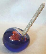 Cobalt  Glass Pen Holder/ Paper Weight Cobalt & Dicro Heart