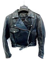 VINTAGE VANSON LEATHER BIKER MOTORCYCLE BLACK JACKET WOMENS SIZE 10 M