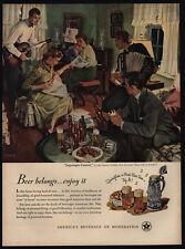 1950 JOHN GANNAM Beer Art - Concert - Guitar - Accordian - Piano - VINTAGE AD