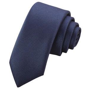 GASSANI 6cm Schmale Blaue Herren-Krawatte Schlips Binder Kariert Extra Lang Dünn