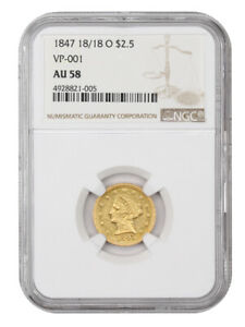 1847-O 18/18 $2 1/2 NGC AU58 (VP-001) Scarce New Orleans Overdate