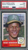 Rickey Henderson 2018 Topps Living Baseball Card #28 Graded PSA 10 GEM MINT