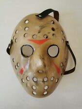 Hand painted Friday 13th Jason Voorhees Mask with Leather Strap Prop Halloween