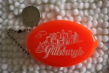 Pittsburgh Pennsylvania Vintage Rubber Coin Purse Skyline Keychain Key Ring