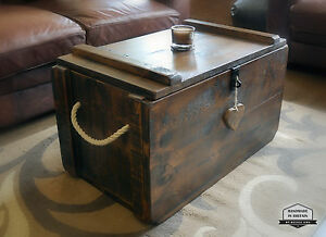 Rustic Waxed Pine Wooden Blanket Box Storage Chest Trunk Coffee Table Ottoman