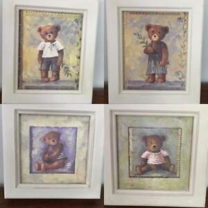 TEDDY BEAR PICTURES PAINTED WOODEN FRAMES WALL ART DESIGN  PAINTING  CHILDREN'S