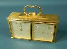 Rare Vtg 15J IMHOF Swiss Brass Desk Weather Station Clock w/ 4 Flip Out Stations
