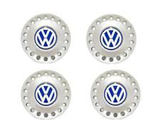 "Genuine 16"" Alloy Wheel Center Hub Silver White Blue Cap x4 VW New Beetle 99-05"