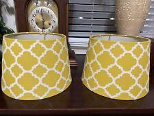 Set Of Two Vintage Mid Century Mcm Mustard Yellow Fabric Drum Light Lamp Shade