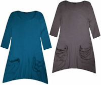 Ladies New Plus Size Plain Vest Top Womens Hanky Flared Swing Blouse UK 16 - 32