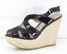 FAITH Black Patent with LEATHER Vintage 70s look Ladies Platform Sandals size 7