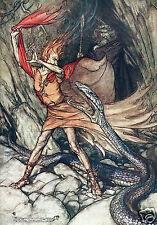 Rhinegold & las valquirias mitología nórdica Serpiente 7x5 pulgadas impresión
