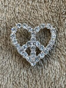 Rhinestone Heart Peace Sign Belt Buckle Love Crystal Buckle Silver Accessory
