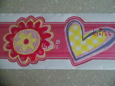GIRLS PINK TEENAGE SHAPED FLOWER WALLPAPER BORDER SELF ADHESIVE NEW