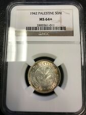 1942 50 Mils NGC MS64+ Silver Coin Palestine - Israel - RARE!