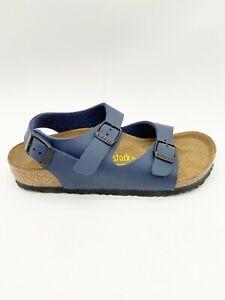 Birkenstock Roma Kids Blue Birko-Flor Sandals Narrow Fit US 8-1.5