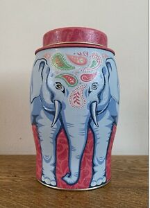 Williamson Elephant Tea Caddy / Tin Unused but empty Pink And Blue