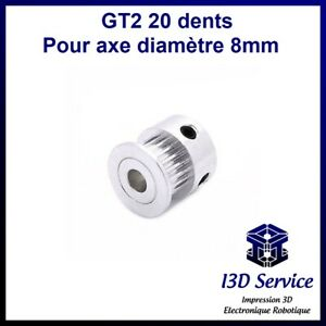 Pulley GT2 20 Tooth For Axle 8mm - GT2 Pulley - Ideal Printer 3D