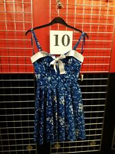 Ladies Dress HELL BUNNY Skulls Bow Blue Tattoo Size Large .