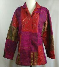 CHICOS Jacket Size 1 Medium Nepalese Style Metallic Beaded Patchwork Hippie Boho
